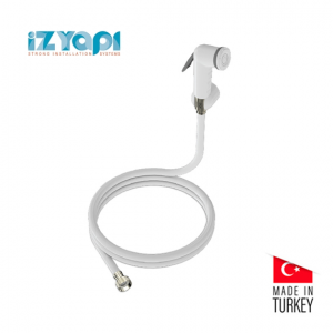 Izyapi Shut Off Rinsing Shower With 120 cm Twistfree Flexible Hose White Colour