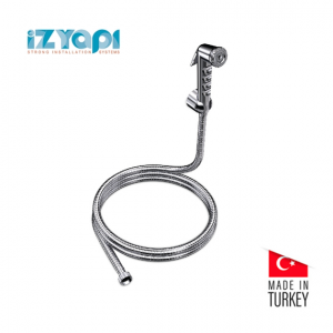 Izyapi Shut Off Rinsing Shower Chrome With 100-120 cm Twisfree Stainless Steel Flexible Hose