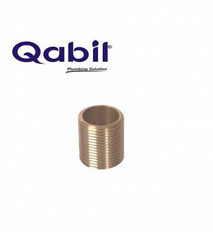 Qabil Full Thread Nipple (Brass) 3/4
