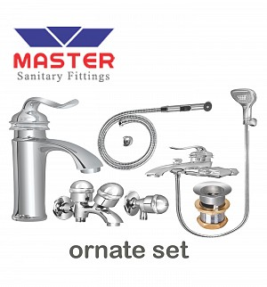 Master Gold Series Ornate Set With Saphire Hand Shower