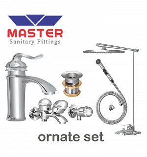 Master Gold Series Ornate Set With Overhead Rain Shower (Metal)