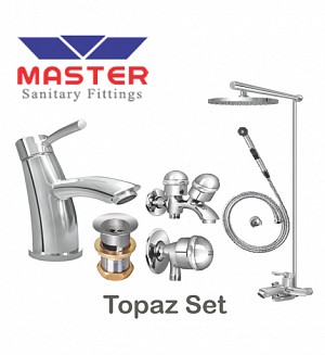 Master Gold Series Topaz Set With Overhead Rain Shower (Metal)
