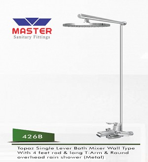 Master Topaz Single Lever Bath Mixer Wall Type & Overhead Rain Shower (Metal) (426B)
