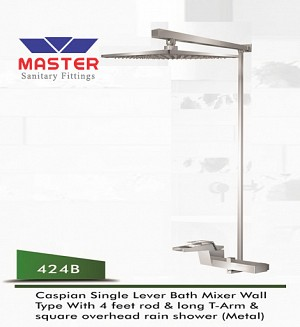 Master Caspian Single Lever Bath Mixer Wall Type & Overhead Rain Shower (Metal) (424B)