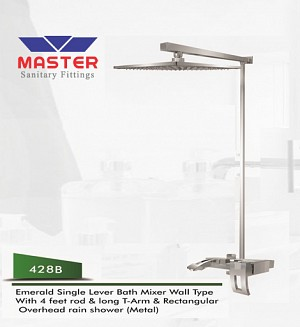 Master Emerald Single Lever Bath Mixer Wall Type & Overhead Rain Shower (Metal) (428B)