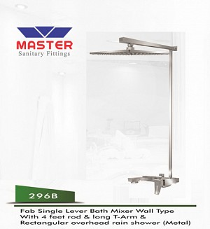 Master Fab Single Lever Bath Mixer Wall Type & Overhead Rain Shower (Metal)