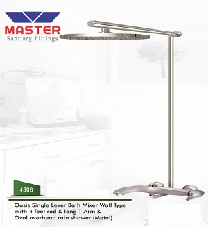 Master Oasis Single Lever Bath Mixer Wall Type & Overhead Rain Shower (Metal)