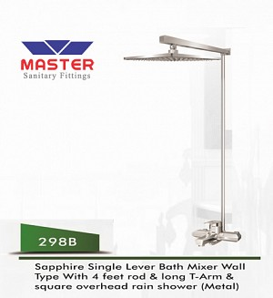 Master Sapphire Single Lever Bath Mixer Wall Type & Overhead Rain Shower (Metal) (298B)
