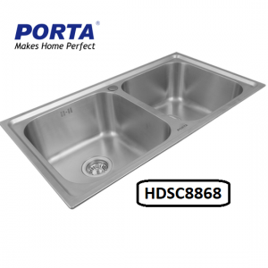 Porta Stainless Steel Double Bowl Sink Model:(HDSC8868)