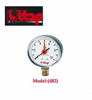 Itap Pressure Gauge Bottom/Back Connection 10 Bar Size:(1/4 X 63) Model:(482-483)