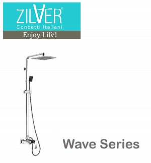 Zilver Wave Bath Mixer With Open Shower Rod System