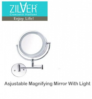 Zilver Asjustable Magnifying Mirror With Light