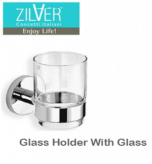 Zilver Round Series Glass Holder With Glass