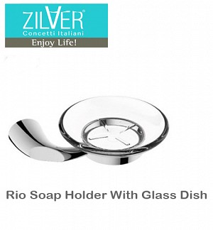 Zilver Rio Soap Holder With Glass Dish