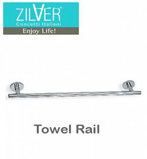 Zilver Round Series Towel Rail 24″
