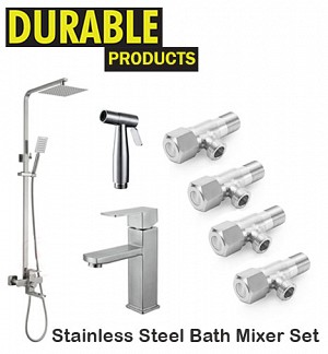 Stainless Steel Bath Mixer Set Complete