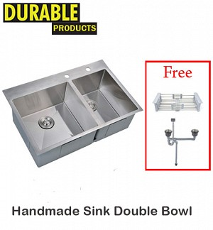 Handmade Kitchen Sink Double Bowl 75 x 41