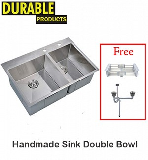 Handmade Kitchen Sink Double Bowl 78 x 43