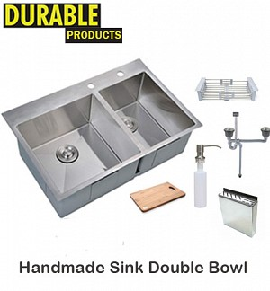 Handmade Sink Double Bowl With Accessories