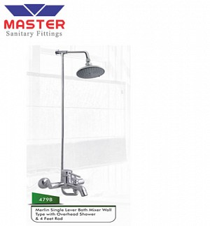 Master Merlin Single Lever Bath Mixer Wall Type With Overhead Shower & 4 Feet Rod (479B)