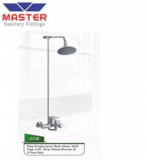 Master Flap Single Lever Bath Mixer Wall Type With Over Head Shower & 4 Feet Rod (475B)