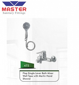 Master Flap Single Lever Bath Mixer Wall Type With Flap Hand Shower (475)