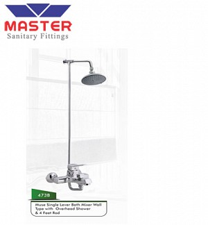 Master Muse Single Lever Bath Mixer Wall Type With Over Head Shower & 4 Feet Rod (473B)