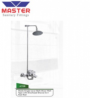 Master Hazle Single Lever Bath Mixer Wall Type With Over Head Shower & 4 Feet Rod (470B)